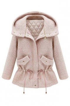 Pink Womens Cute Warm Winter Thick Tunic Duffel Coat