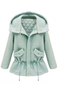 Turquoise Womens Cute Warm Winter Thick Tunic Duffel Coat