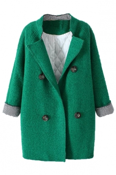 Green Sexy Womens Thick Warm Pea Turndown Collar Plain Tweed Coat