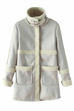 White Cool Womens Lambs Wool Patchwork Thick Suede Over Coat