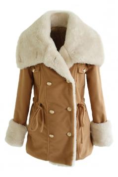 Khaki Ladies Turndown Collar Faux Fur Pea Quilted Over Wool Coat