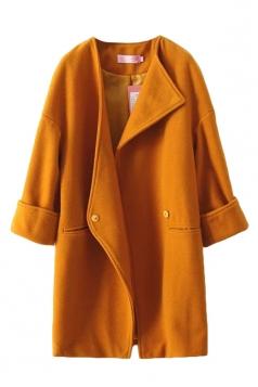 Yellow Pretty Womens Turndown Collar Wool Over Coat