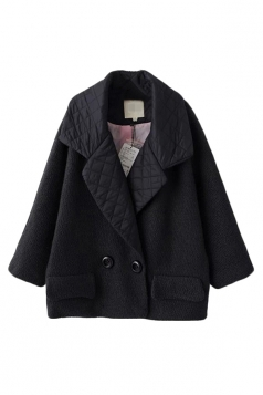 Black Cute Ladies Turndown Collar Plain Tweed Car Coat