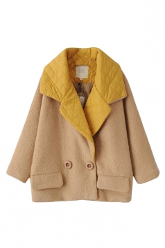 Yellow Cute Ladies Turndown Collar Plain Tweed Car Coat