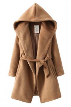 Khaki Pretty Ladies Winter Tiebelt Warm Plain Hooded Wool Coat