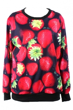 Red Womens Crew Neck Strawberry Printed Jumper Sweatshirt
