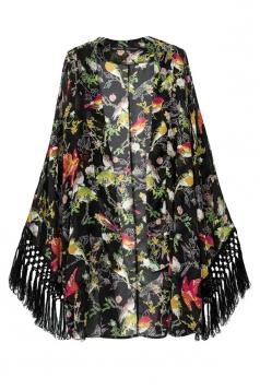Black Charming Ladies Floral Printed Fringe Kimono