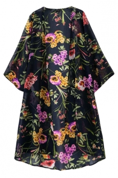 Black Charming Ladies Vintage Floral Printed Kimono