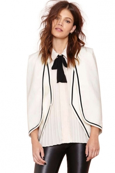 White Sexy Ladies Shoulder Pad Color Block Cape Blouse