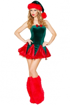 Green Fashion Womens Elf Christmas Tree Santa Helper Costume