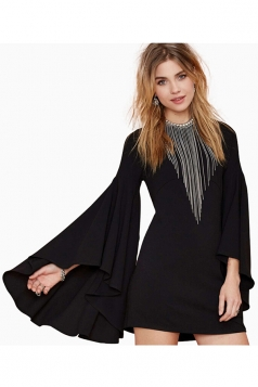 Black Chic Ladies Boat Neck Ruffle Plain Long Sleeve Dress