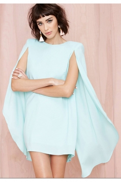 Green Ladies Sexy Elegant Shift Cape Dress