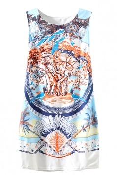 Blue Womens Vintage Sleeveless Painting Printed Smock Dress