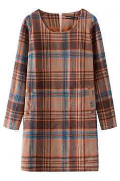 Khaki Womens Classic Plaid Tweed Shift Long Sleeves Dress