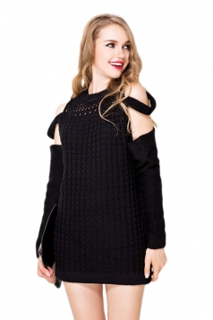 Black  Crew Neck Cut Out Plaid Off Shoulder Knitted Sweater Dress