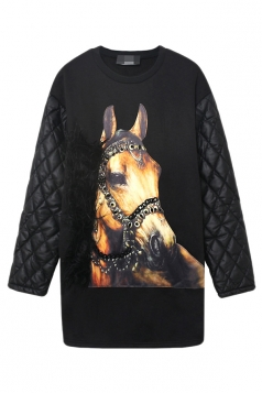 Crew Neck Lined Patchwork Quilted Horse Printed Sweatshirt Dress