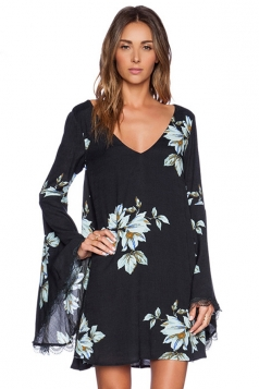 Black Trendy Womens Backless Cut Out Floral Printed Smock Dress