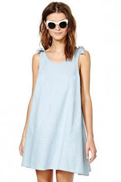 Blue Pretty Ladies Crew Neck Bow Sleeveless Smock Dress