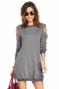 Gray Charming Ladies Cut Out Off Shoulder Sweatshirt Dress