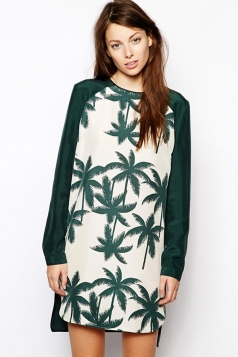 Green Chic Womens Loose Coconut Palm Crew Neck Shift Dress