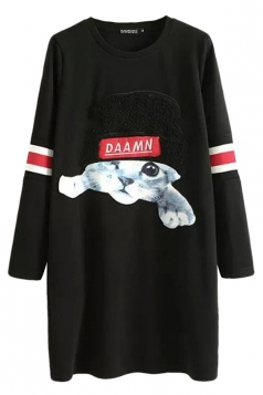 Black Womens Cool Cat Crew Neck Long Sleeves Shift Dress