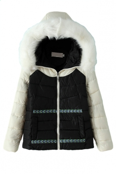 Black Chic Womens Color Block Warm Fur Hooded Quilted Coat