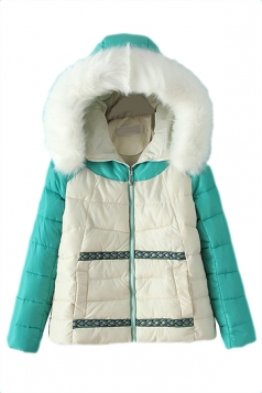Green Chic Womens Color Block Warm Fur Hooded Quilted Coat