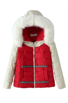 Red Chic Womens Color Block Warm Fur Hooded Quilted Coat
