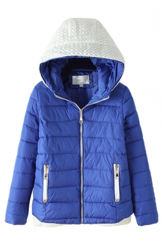 Blue Fashion Ladie Color Block Knitted Hooded Quilted Coat