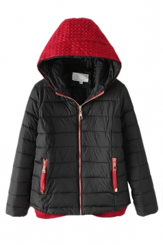 Black Fashion Ladie Color Block Knitted Hooded Quilted Coat