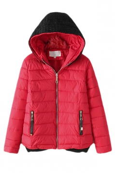 Red Fashion Ladie Color Block Knitted Hooded Quilted Coat