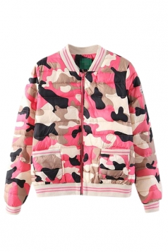 Pink Loose Ladies Stand Collar Camouflage Pattern Quilted Jacekt