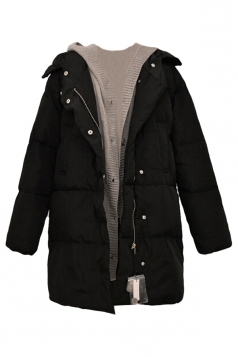 Black Patchwork Warm Winter Hooded Womens Long Quilted Coat