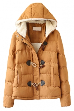 Khaki Hooded Ladies Cute Quilted Toggle Warm Car Coat