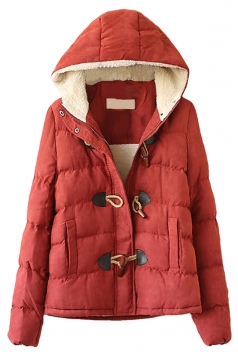 Red Hooded Ladies Cute Quilted Toggle Warm Car Coat
