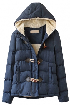 Navy Blue Hooded Ladies Cute Quilted Toggle Warm Car Coat