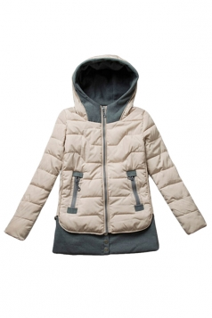 White Patchwork Fashion Womens Hooded Slim Quilted Coat