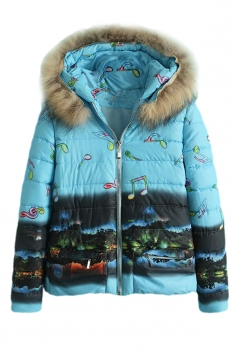 Blue Womens City Note Printed Fur Hooded Quilted Car Coat