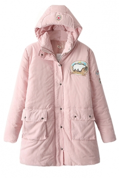 Pink Cute Womens Hooded Bear Label Warm Over Coat