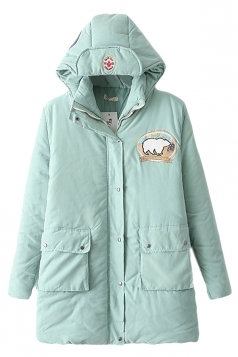 Turquoise Cute Womens Hooded Bear Label Warm Over Coat