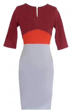 Ruby Pretty Ladies Color Block Patchwork Crew Neck Midi Dress
