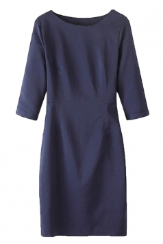 Navy Blue Womens Fashion Cut Out Plain Seven Sleeves Dress