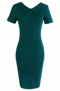Blue Womens Doll Collar Plain Short Sleeve Plain Midi Dress
