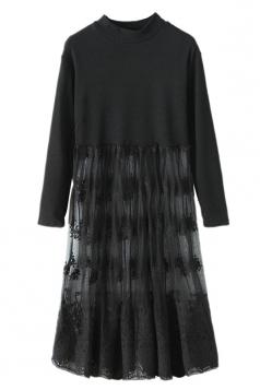 Black Ladies Crew Neck Patchwork Lace Sheer Pleated Midi Dress