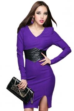 Purple Womens V Neck Leather Patchwork Slit Long Sleeve Dress