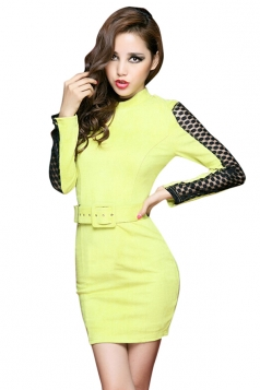 Yellow Stand Collar Lace Sheer Patchwork Belt Long Sleeve Dress