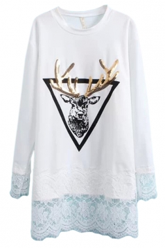 White Ladies Reindeer Printed Sequined Lace Patchwork Shift Dress