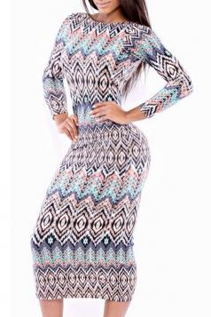 Blue Trendy Womens Geometric Printed Long Sleeve Midi Dress