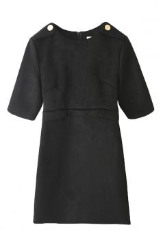 Black Ladies Fashion Suede Plain Crew Neck Shift Dress