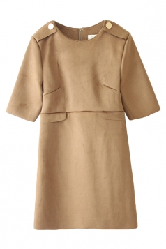 Khaki Ladies Fashion Suede Plain Crew Neck Shift Dress